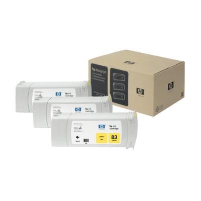 Inkoustová náplň HP 83 (C5075A) žlutá 3 ks