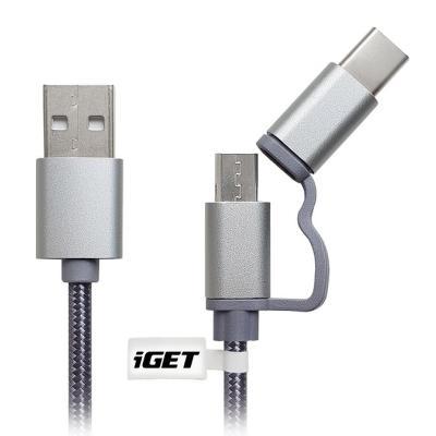 Kabel iGET USB na USB-C a micro USB 1m