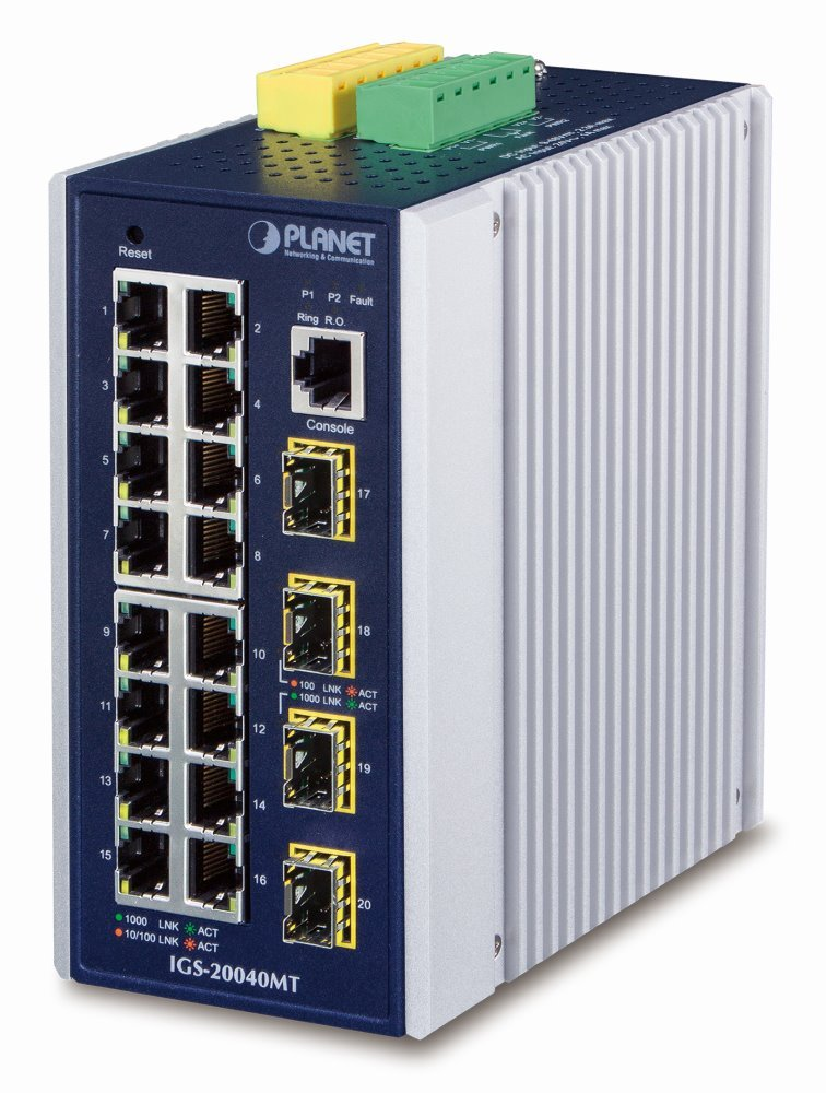 Planet IGS-20040MT, 16x 1000Base-T, 4x SFP, DIN, IP30, -40 až 75°C, WEB/SNMPv3, VLAN, IGMPv3, ESD+EFT, IPv6