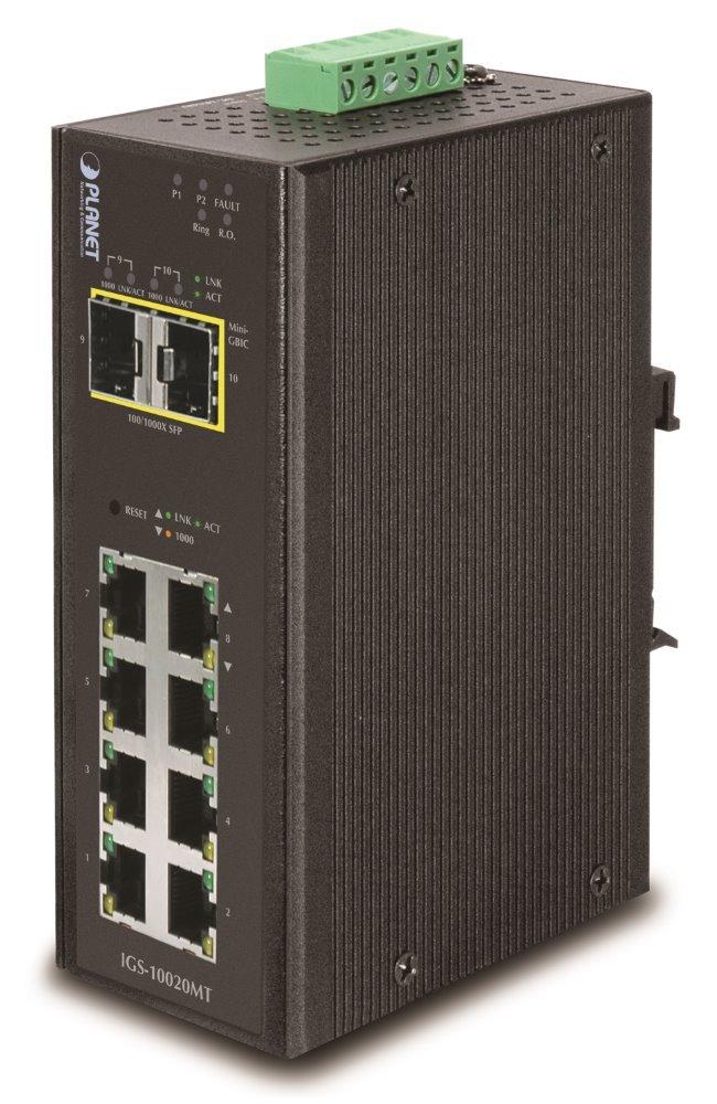 PLANET IGS-10020MT Průmyslový Switch 8x 10/100/1000 + 2x 100/1000 SFP, Management, -40 +75°C