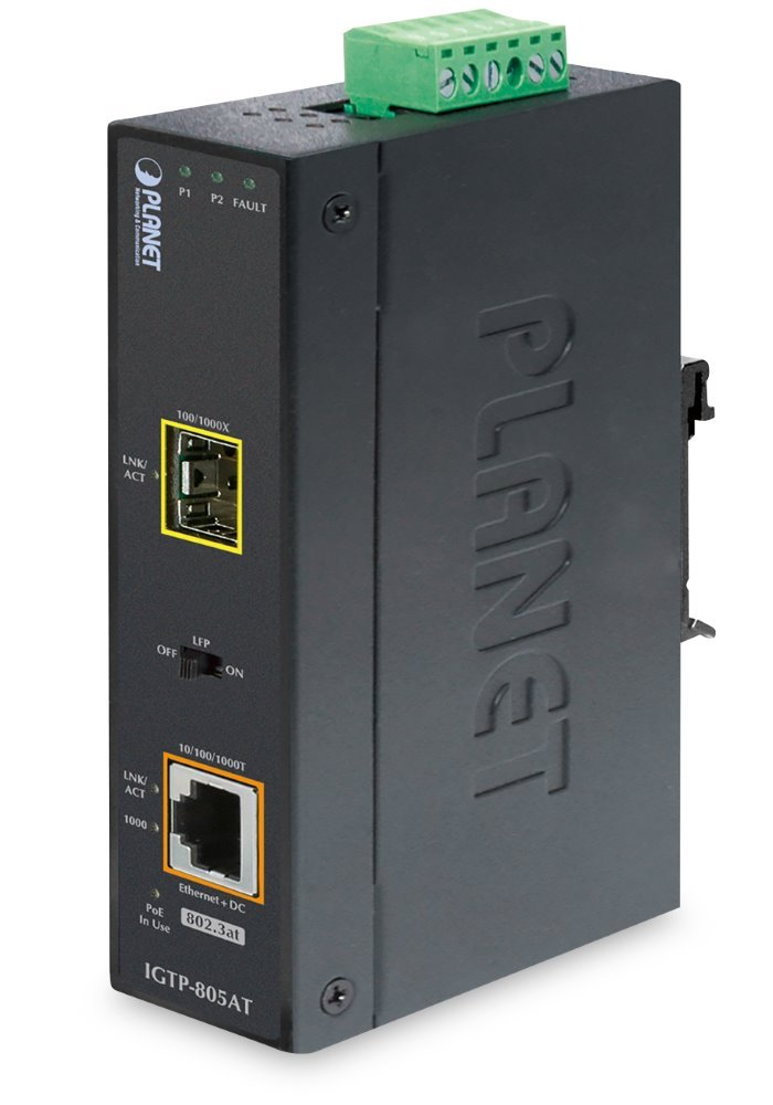 PLANET IGTP-805AT PoE konvertor 802.3at, 1x 1000Base-T,1x 100/1000Base-X, SFP, -40 až 75 st.C, EFT+ESD