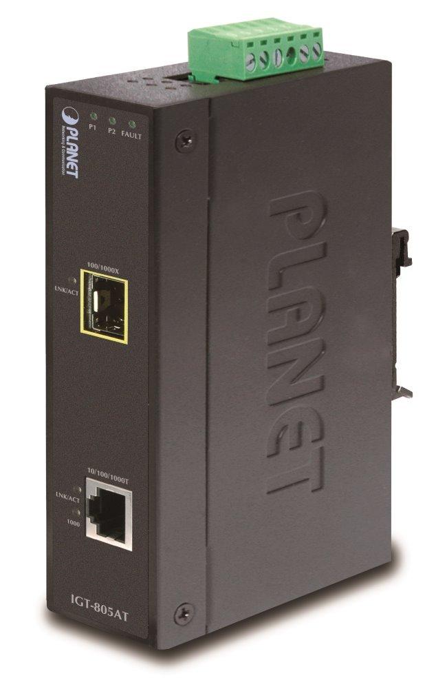 PLANET IGT-805AT konvertor 1x 100/1000Base-T,1x SFP 100/1000-X, ESD+EFT, IP30, -40 až 75°C