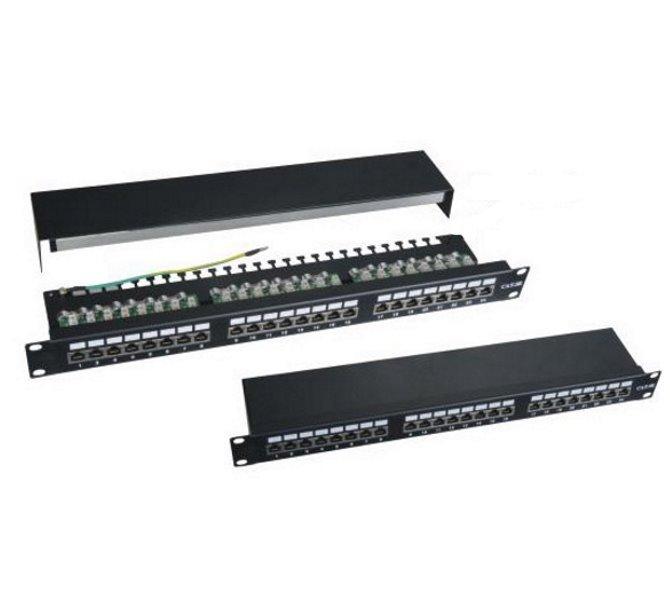 "Patch panel 19"", 24 portů, stíněný, C5E,dual, 2xAu"