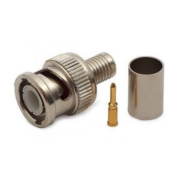 Konektor krimp. BNC/M na RG6 (3-dílný: tělo, pin, krimp. trubička), 75 Ohm