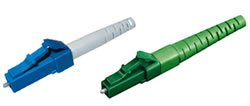 LC konektor, simplex, metalokeramický, modrý, pro 3mm kabel, pro lepení