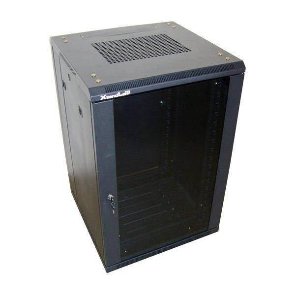 18U/600x800 stojanový, černý, skleněné dveře, plná záda
