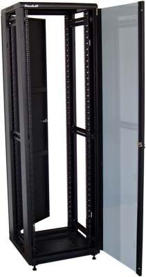 32U/800x800 stojanový, černý, skleněné dveře, plná záda