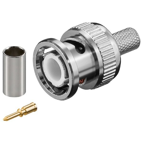 Konektor krimp. BNC/M na RG59 (3-dílný: tělo, pin, krimp. trubička), 75 Ohm