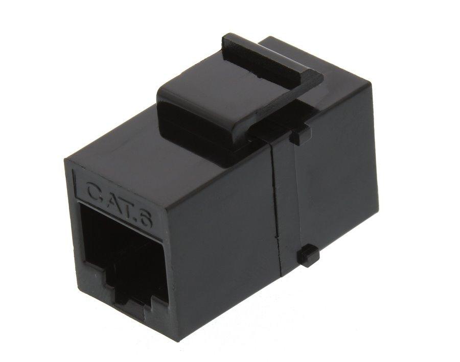 Keystone/spojka, RJ45, Cat 6, UTP, černý, instalace kabeláže bez narážení kabelů