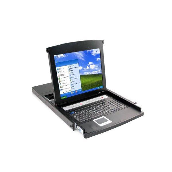 """KVM konzole, LCD 17"""", ovládání 16-ti PC, PS2/USB,  instalace do 19"""" skříně, touchpad, včetně kabelů"""