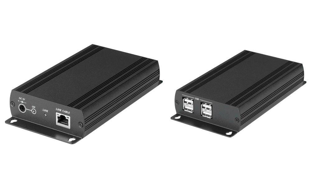 Extender USB 2.0 50Mbps po LAN, neomezená vzdálenost, pár, vzdálené zařízení 4x USB