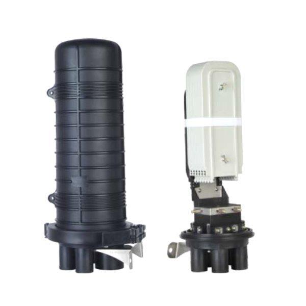 Vodotěsná optická spojka, zemní/zeď/stožár, 144 vláken 6x24, 5x prostup, matice, 510x230mm