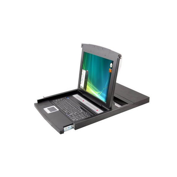 """KVM konzole, LCD 19"""", ovládání 16-ti PC, PS2/USB,  instalace do 19"""" skříně, touchpad, včetně kabelů"""
