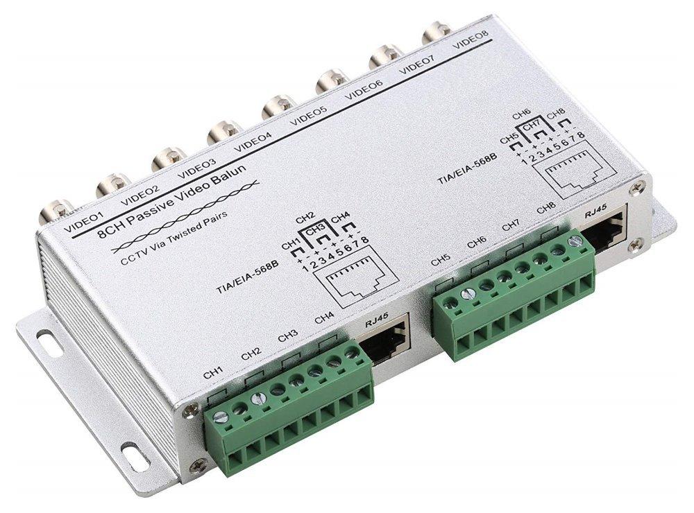 Balun pasivní pro 8x AHD/HDCVI/HD-TVI/PAL do 8Mpix, cena za 1ks