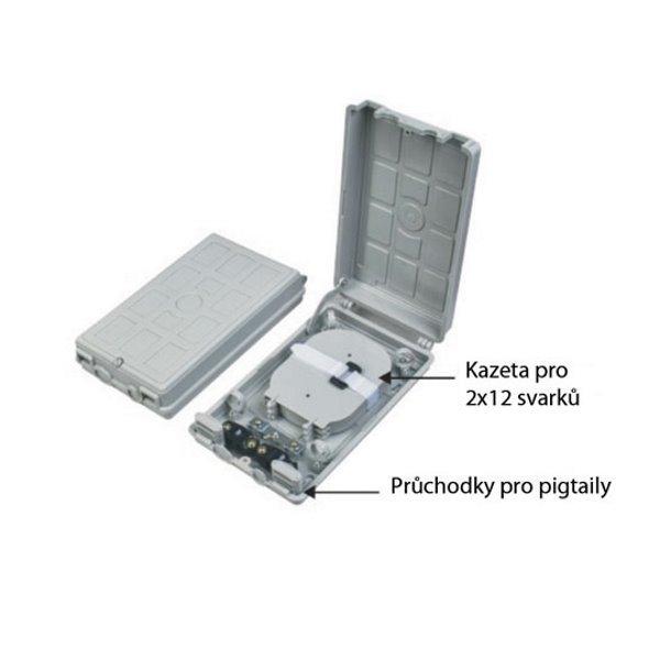 XtendLan plastový rozvaděč pro 24 svarů, 24 pigtailů, 2 kabelové porty, odklopná dvířka
