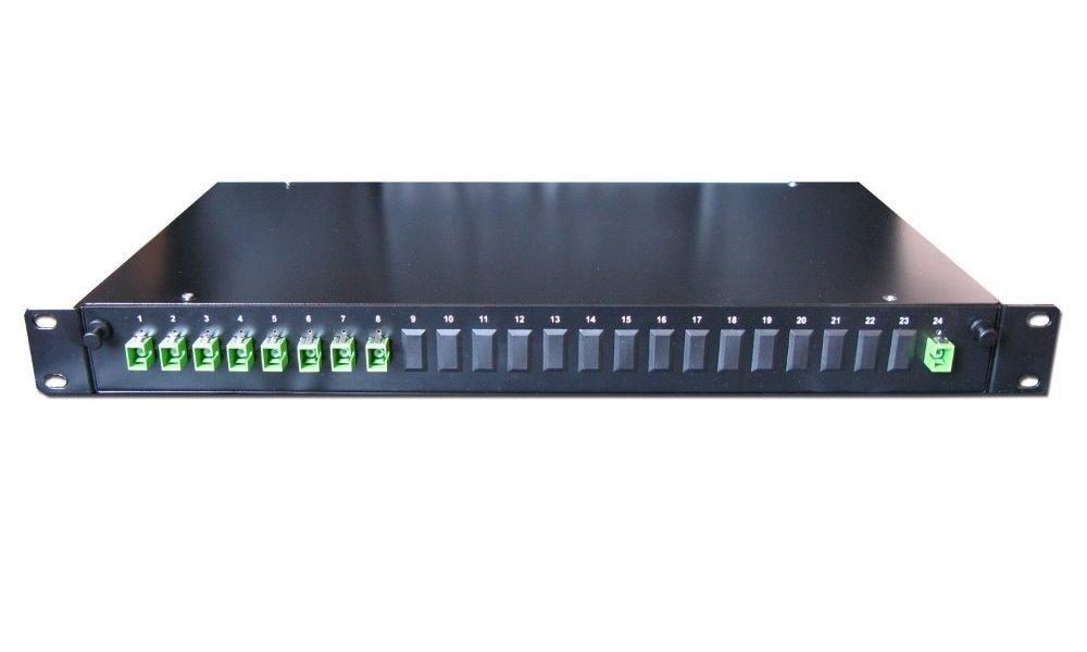 """Optický rozbočovač pro GEPON/CATV 1:8, skříň 19"""", 1U, konektory SC/APC"""