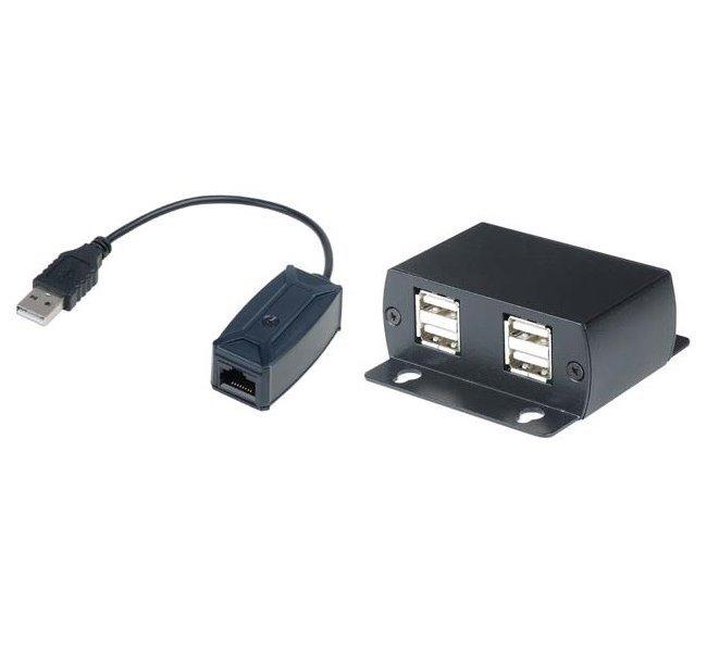 Extender USB 1.1 po CAT5E na 50m, 4 portový, high speed,pasivní, s napájením, včetně AC/DC adaptéru