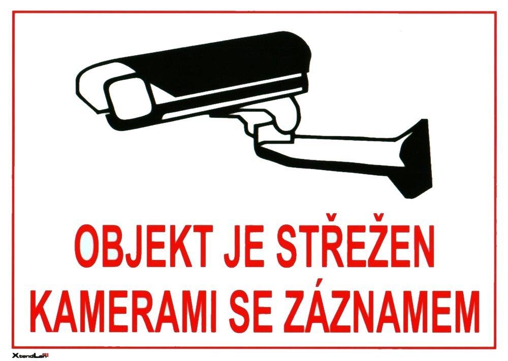 Bezpečnostní tabulka pro kamerové systémy, bílá, 210x150mm