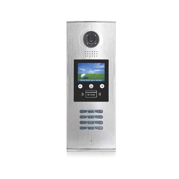 """OPRAVENÉ - Dveřní stanice CAT5, pro větší budovy, LCD menu, číselník, čtečka ID karet, CCD 1/3"""", dešť. kryt"""