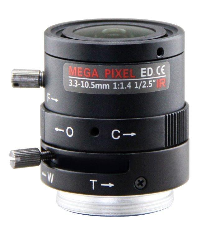 """Objektiv Vari-focal manuální clona, f=3,3-10mm, 1/2,5"""", F=1,4-16, CS-mount, IR přizpůsobení, 3-5Mpix"""