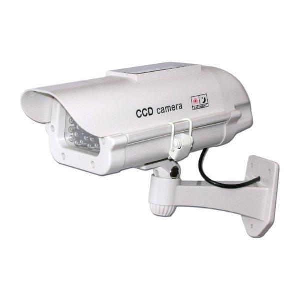 Atrapa venkovní kamery IR přísvitem, bílá, profesionální, s napájením blikání ze solárního článku