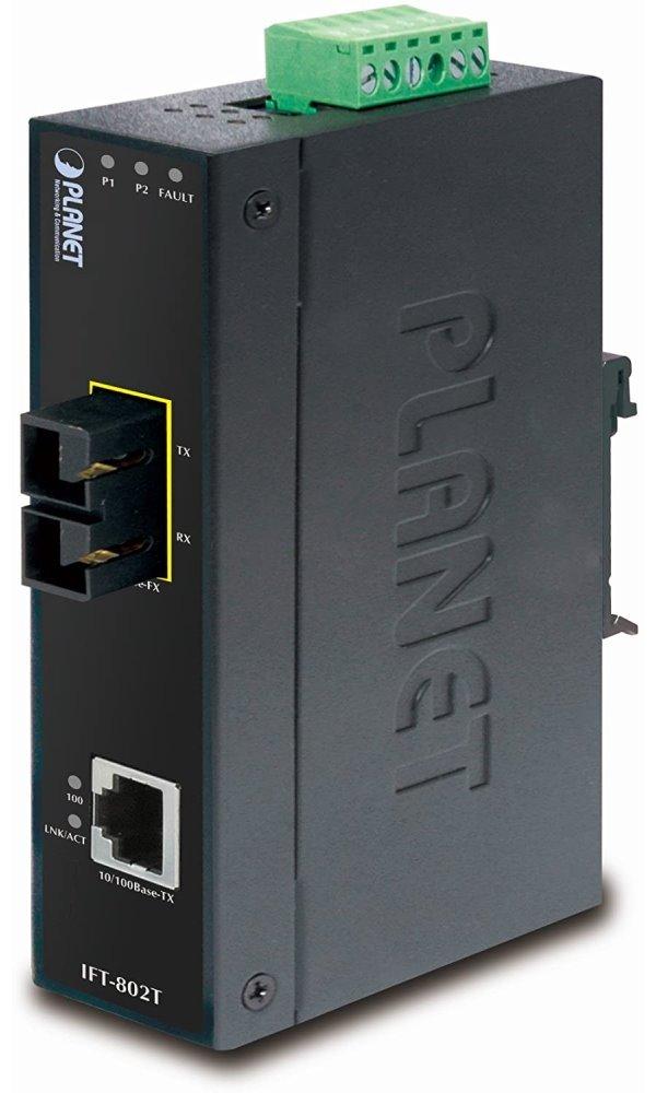 Planet IFT-802T optický konvertor, SC multimode 2km, DIN, IP30, -40 až 75 st.C