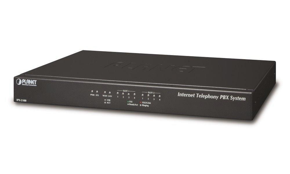 Planet IPX-2100, IP PBX, SIP Proxy, 2x slot pro moduly,IVR, 100/30 uživatelů, DID, BLF, FAX, Skype-SIP, VPN