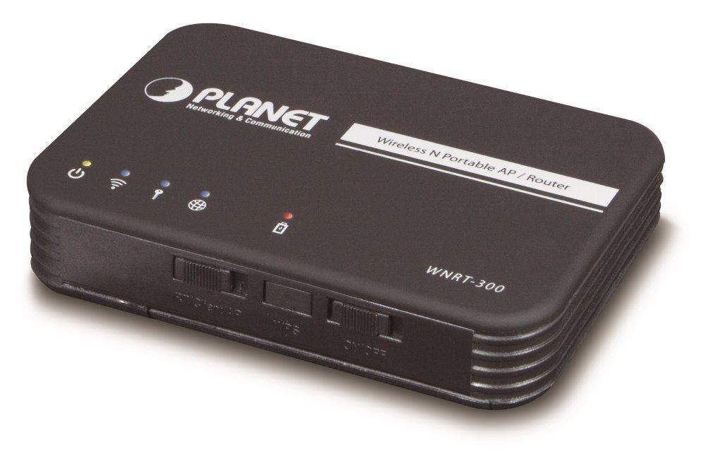 Planet WNRT-300, router/AP/klient, 802.11n, 150Mbps, SPI Firewall, IAPP 802.11F, 20 klientů,Li-ion baterie