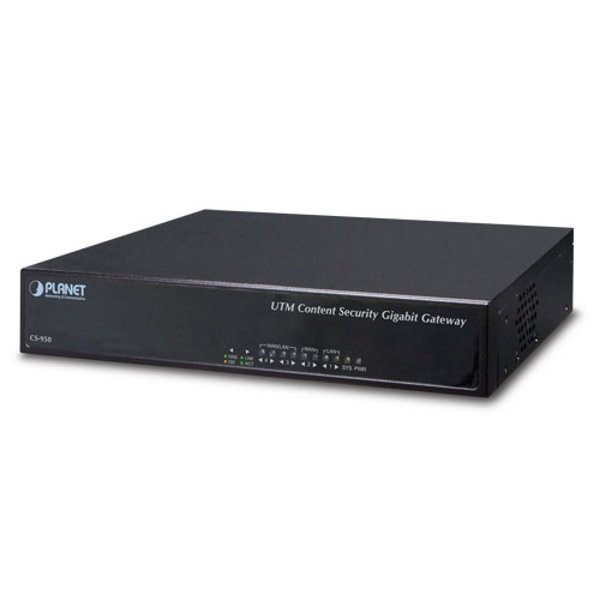 PLANET CS-950 UTM security gateway, 4x 1000Base-T, Antispam, IDP, Co-defense, VPN, SSL, VLAN, QoS, IPv6