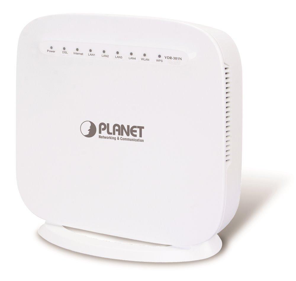 Planet VDR-301N ADSL/VDSL router, G.993.5 Vectoring, WiFi 2,4GHz (300Mb/s),1x WAN+ 4x LAN, firewall