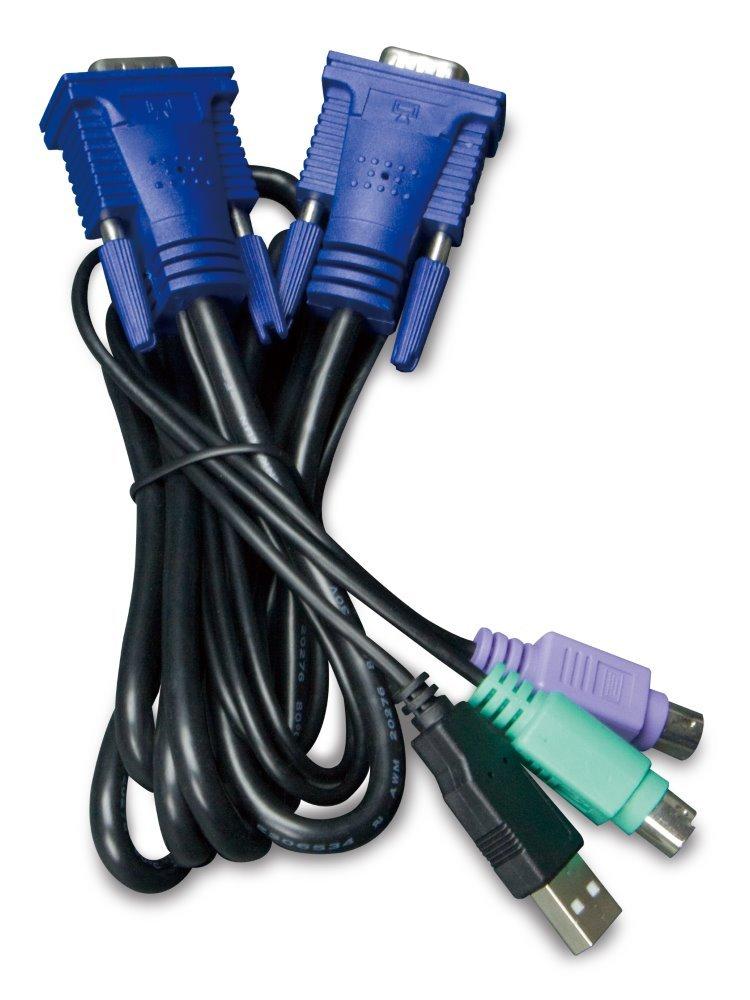 Planet KVM-KC1-1.8m KB/Video/Mouse kabel s USB pro KVM řady 210, integrovaný převodník USB-PS/2