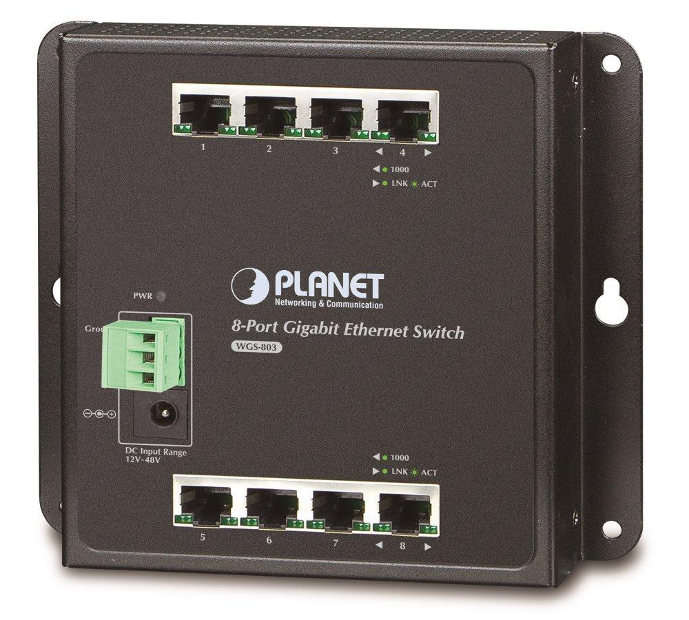 Planet WGS-803 nástěnný switch 8x1000B-T, DIN, kov IP30, ESD+EFT, dual DC, fanless