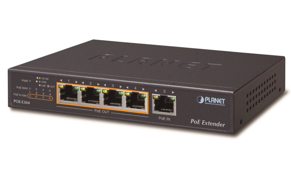 Planet POE-E304, Ultra PoE gigabit ethernet extender, 1+4x 1000Base-T, IEEE802.3at (50W), ESD+EFT