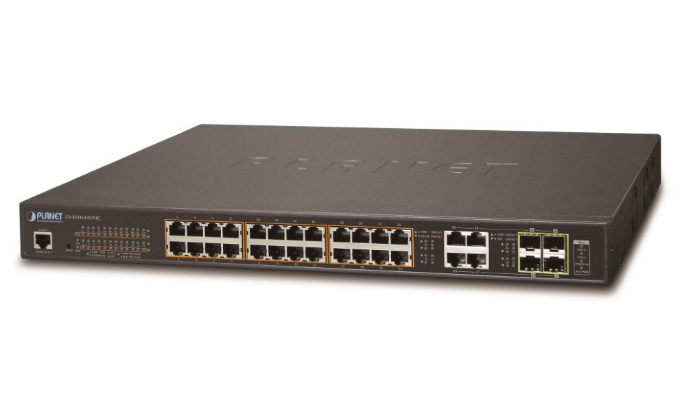 Planet GS-4210-24UP4C Ultra PoE switch L2/L4, 28(24 PoE)x 1000Base-T, 4x SFP, Web/SNMPv3, 802.3at-600W