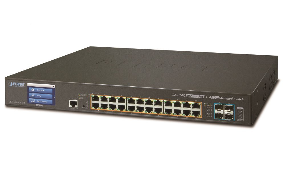 Planet GS-5220-24UP4XVR, Smart Ultra PoE switch 24x TP,4x SFP+ 10Gbase-X,Web/LCD+ONVIF, 802.3bt-400W, AC+DC