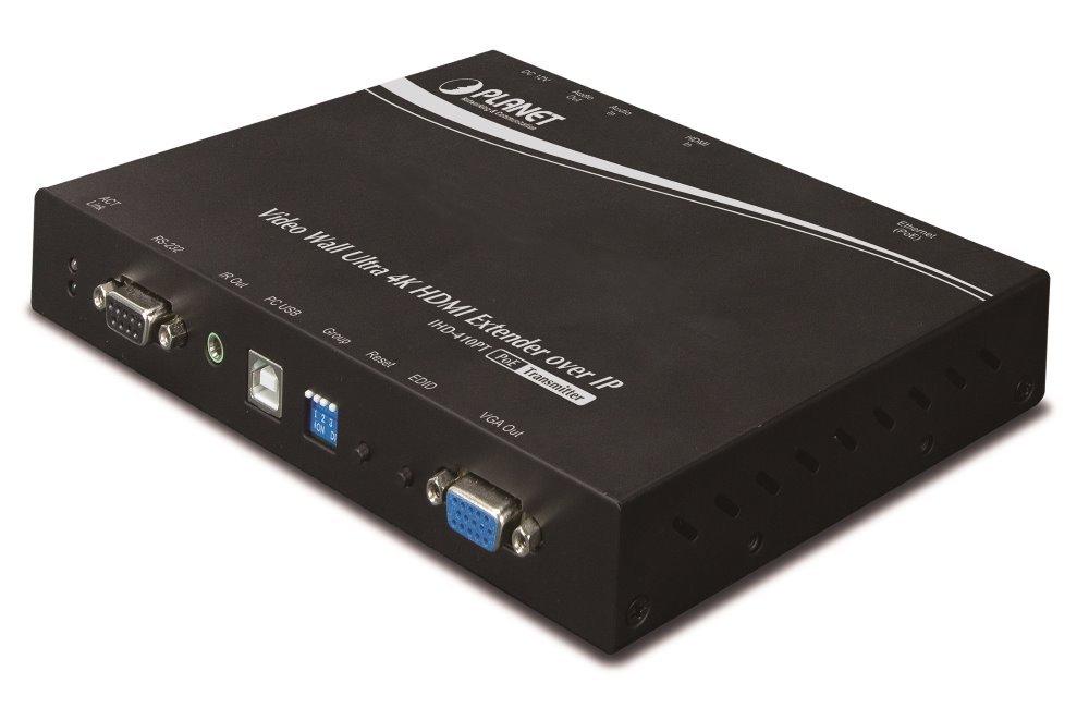 Planet IHD-410PT, HDMI video extender/ video wall, vysílač, UHD-4K, multicast, IR, RS-232, napájení PoE