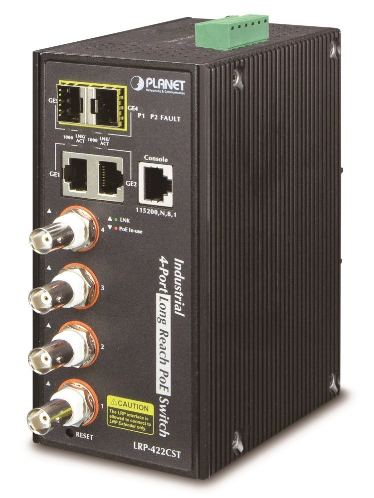 Planet LRP-422CST, průmysl.COAX PoE switch, 4x 100Base-TX, 2x SFP/TP, IEEE802.3at,Web/SNMPv3, -40~75°C,IP30