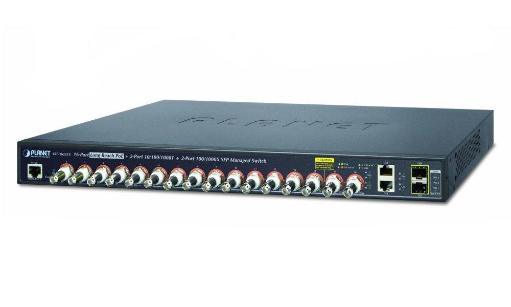 Planet LRP-1622CS, COAX PoE switch, 16x 100Base-TX, 2x SFP/TP, IEEE802.3at, Web/SNMPv2c, IGMPv3, QoS, VLAN