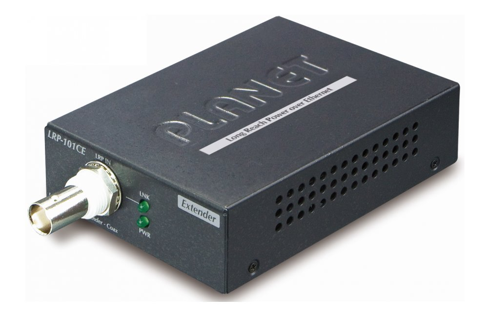 Planet LRP-101CE, COAX extender, slave, 100Base-TX, PoE IEEE802.3at-30W,EFT+ESD, dosah 1km, -20 až 70°C