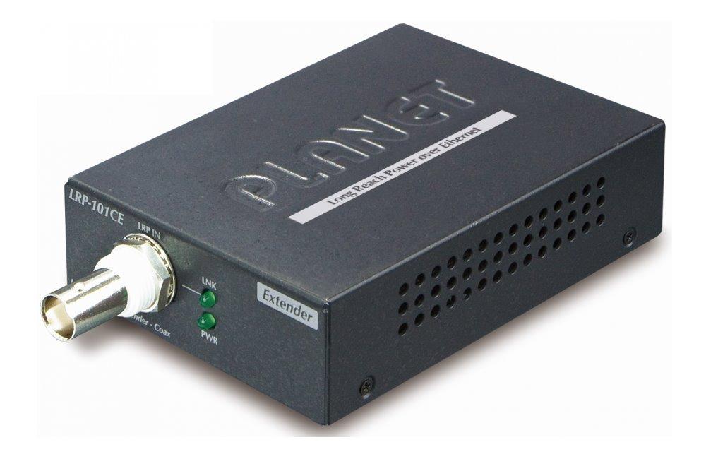 Planet LRP-101CE, COAX extender, slave, 100Base-TX, PoE IEEE802.3at-30W,EFT+ESD, dosah 1km, -20 až 70°C