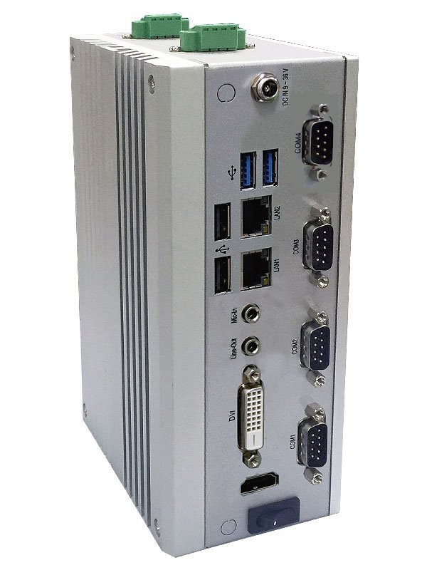 DIN-rail PC, Celeron 1047UE/1,4GHz (2core),SODIMM, 2x LAN, 4x USB,4x COM, DVI+HDMI,audio,fanless