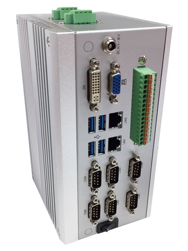 DIN-rail PC, Celeron J1900/2GHz (4core), SoDIMM, 2x LAN, 4x USB, 6x COM, DVI+VGA,fanless