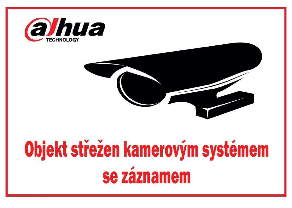 Bezpečnostní tabulka pro kamerové systémy, bílá, 140x100mm, logo Dahua