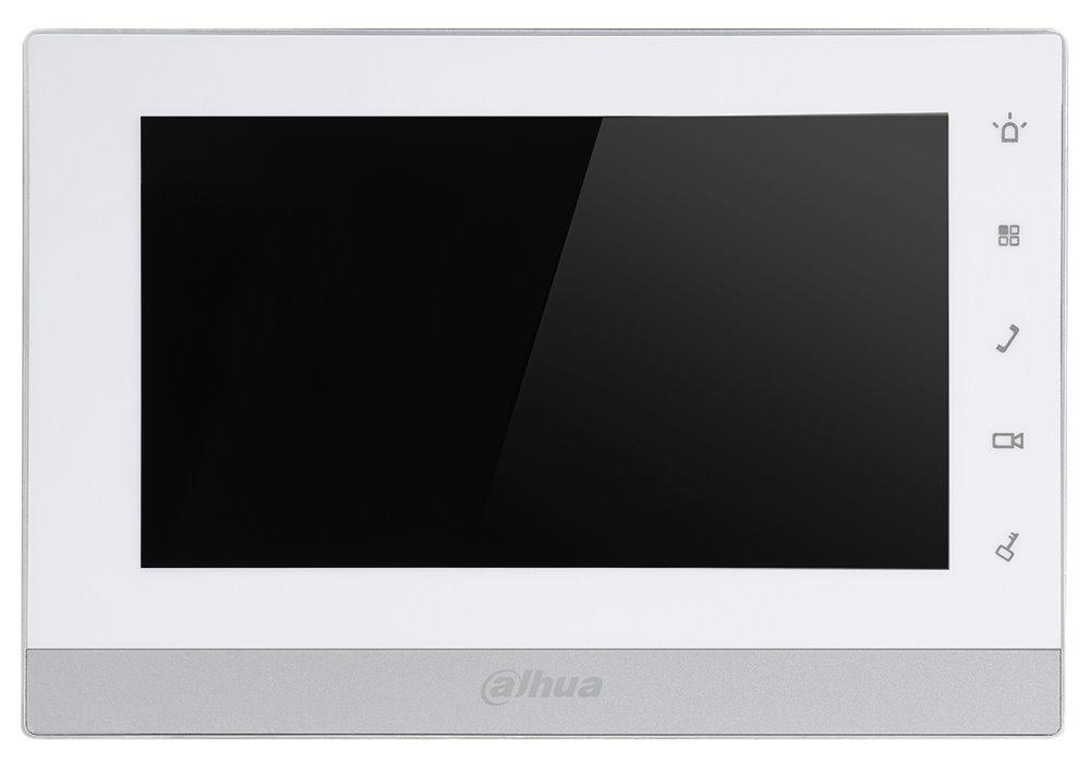 """Bytový monitor 2-drát IP, dotykový TFT 7"""", paměť, připojení IP kamer, alarm out, bílo-stříbrný, CZ"""
