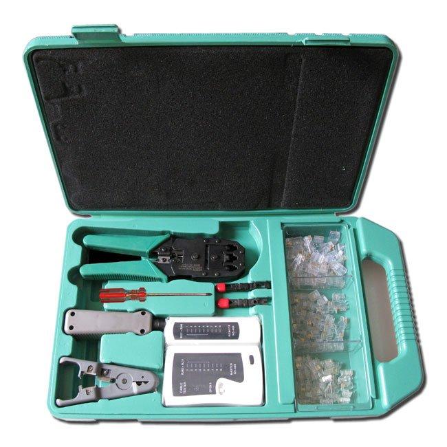 Kit LAN - krimp kleště, ořezávač, narážeč, tester, konektory - pro RJ-11/12/45 a rozvodné panely