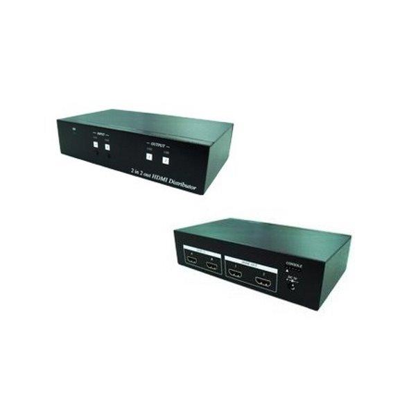 HDMI distribuční rozbočovač, 2 vstupy / 2 výstupy