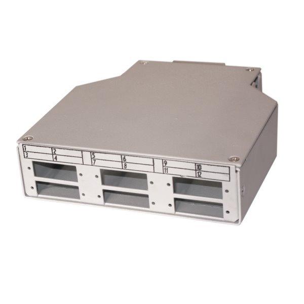 XtendLan mini rozvadeč na DIn lištu, 6x SC duplex, 4 vstupní otvory, krytka