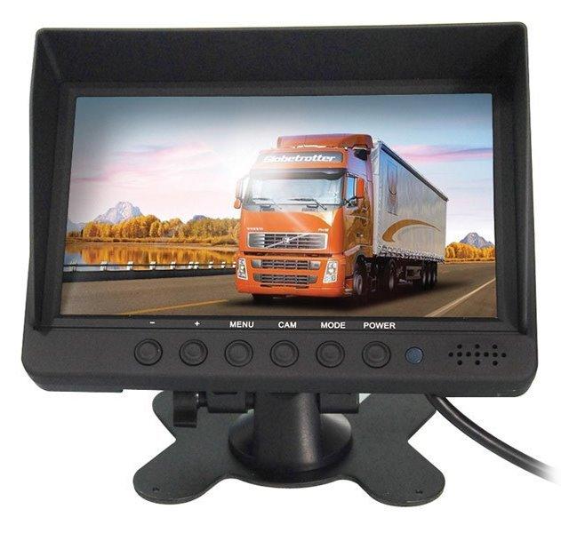 """7"""" TFT monitor, 800x480, 4x A/V (CVBS) vstup, split 4x, sluneční štít, volitelný mirror"""