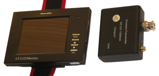 """Monitor kamerových systémů, 3,5"""" TFT, 1x BNC, bezdrátový, vysílač a monitor s přijímačem, i audio"""