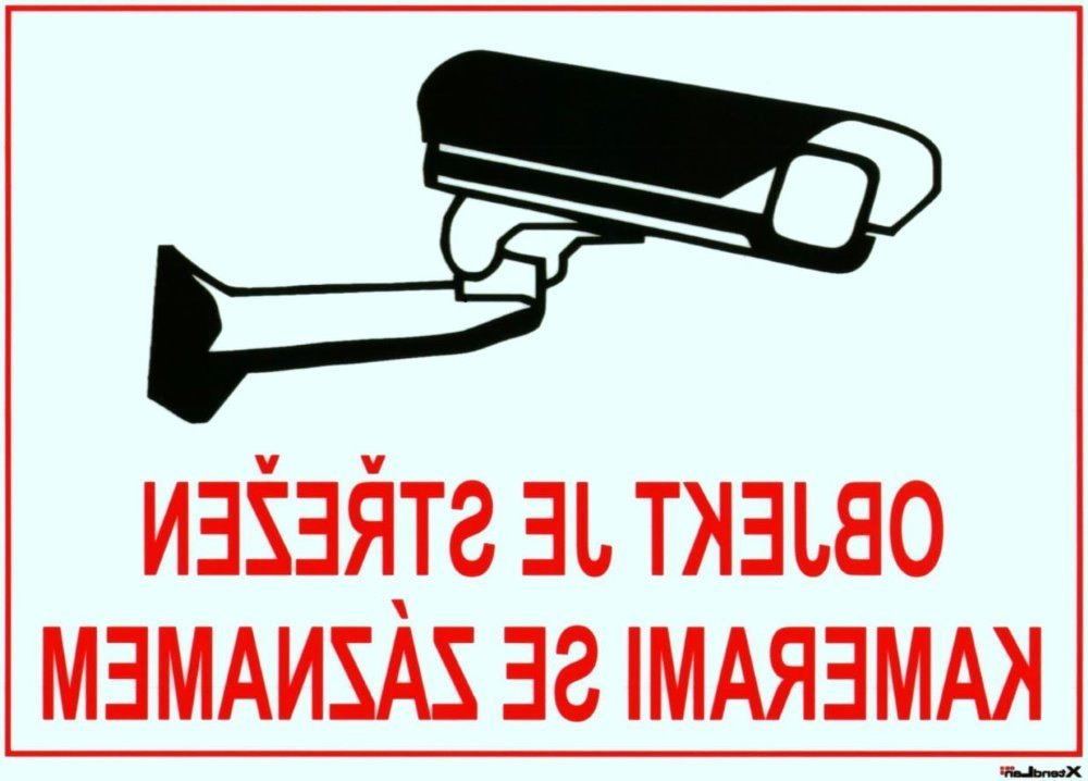 Bezpečnostní tabulka pro kamerové systémy, transparentní, zrcadlový tisk, 140x100mm